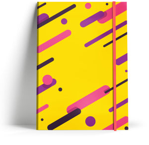 80's Geometric - Bright Yellow with neon pink elastic A5 note book