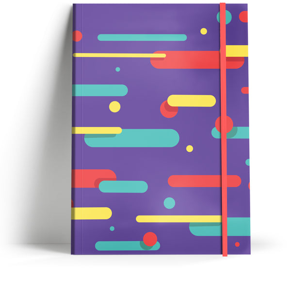 80's Geometric - Retro deep purple with neon pink elastic A5 note book