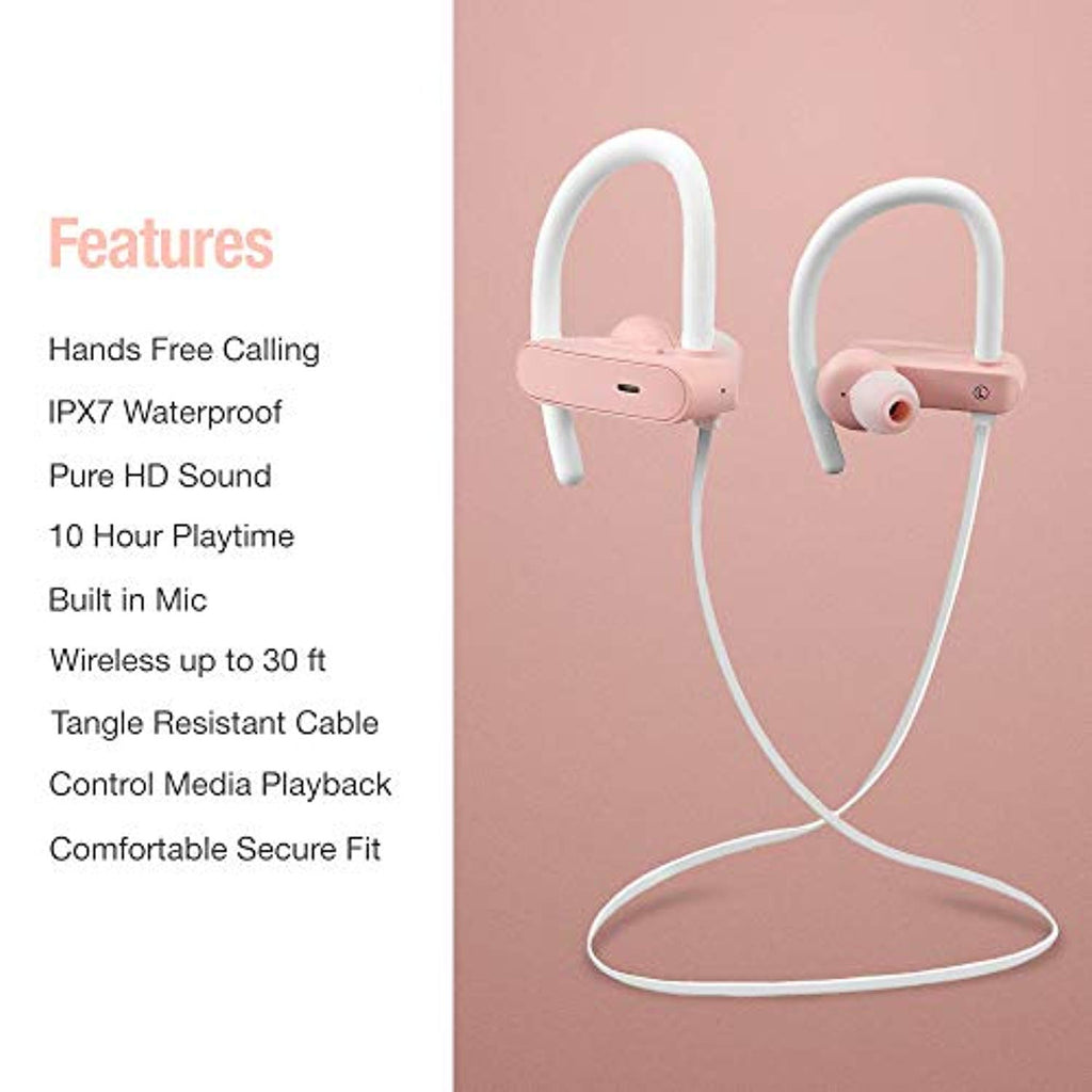 Bluetooth Wireless Running Headphones | Workout Sports Noise Cancelling Earbuds iPhone | Women Over Ear Headset | Best Built in Mic | IPX7 Rated Waterproof | Gym Cordless Earphones | Pink Rose