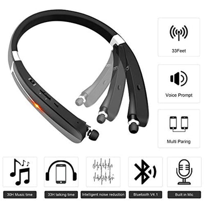 Bluetooth Headphones Wireless Retractable Neckband Bluetooth Headset SUASI V4.1 (KKY-992) with Noise Cancelling Sweatproof Earbuds, for iPhone X/ 8/7 Samsung Galaxy S9 Note 8 HTC (Black)