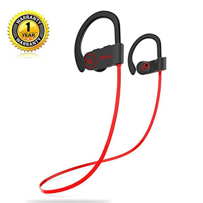 Bluetooth Headphones,Miltuu Wireless Sports Earphones in-Ear Earbuds IPX7 Waterproof with Mic Sweatproof Bass HD Stereo for Gym Running Workout 8 Hour Working time Noise Cancelling Headsets V4.1
