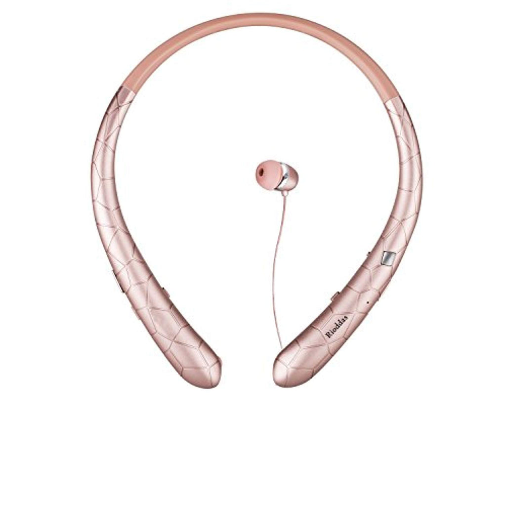 Rioddas Wireless Headphones Retractable Earbuds Sport Neckband Bluetooth Headphones HD Stereo Bluetooth 4.1 Earphones w/Mic IPX5 Sweatproof fo Gym Workout Talk Time up to 15 Hours (Rosegold)