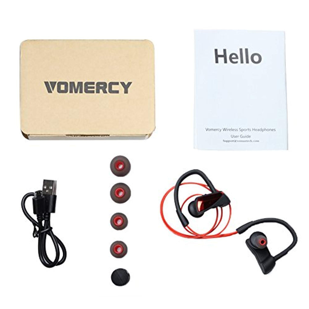 Bluetooth Headphones, Vomercy Wireless Sports Passive Noise Cancelling Earphones Earbuds with Microphone, Volume Control, Stereo Sound, Red