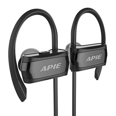 APIE Bluetooth Headphones, Wireless Earbuds Bluetooth 4.1 with Microphone Sport Stereo Headset,IPX7 Waterproof Earphones,Premium Sound with Bass, Noise Cancelling, for Gym Running Workout (Black)