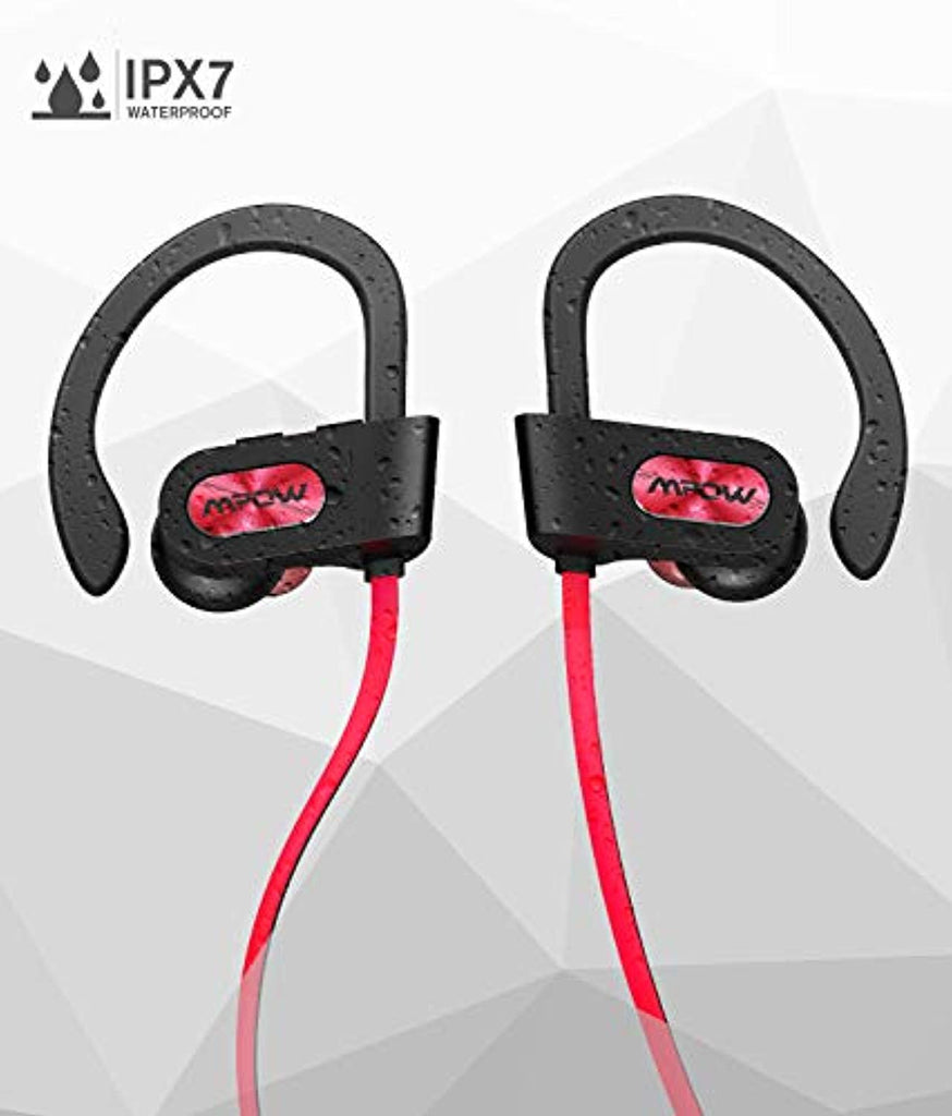 Mpow D3 Bluetooth Headphones, IPX7 Waterproof Wireless Earbuds, HD Stereo Sound 9H Battery Noise Cancelling Headsets, Stable Fit Sports Headphones with Water Resistant Armband for Gym Running Workout