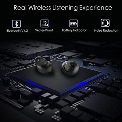 Upgraded Wireless Earbuds, iyesku YK-T02 Bluetooth Wireless Headphones with 12H Playtime Portable Charging Case Stereo Sound Noise Cancelling Premium Sound in Ear Earphones Mini Sweatproof Headset