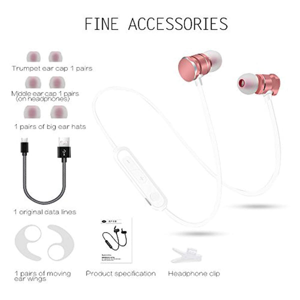 Wireless Headphones, Bluetooth 4.1 Sports Earphones with Magnetic Earbuds, Sweatproof Sports in-Ear Earpieces Microphone-Rose Gold