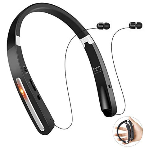 Bluetooth Headphones, TOCGAMT Wireless Retractable Foldable Neckband V4.1 (KKY-992) for Sport Travel, Support iPhone,Samsung Galaxy Series, Android and Other Bluetooth-Enabled Devices-B (Black)