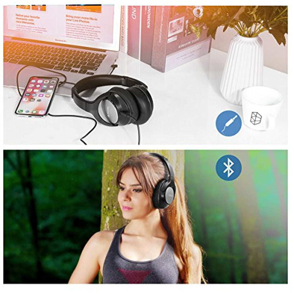 Bluetooth Headphones Over Ear, JIUHUFH JH-803 Premium Comfort Wireless Headphones, Retractable Lightweight Gym Sport Bluetooth 4.1 Headsets with Mic, 20 Hour Battery for Workout, Running, TV Watching