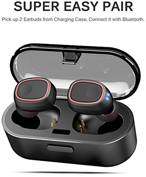 TOZO T8 True Wireless Stereo Headphones TWS Bluetooth in-Ear Earbuds with Charging Case Built-in Mic Headset. Premium Sound with Bass for Running Sport - Super Easy Pair