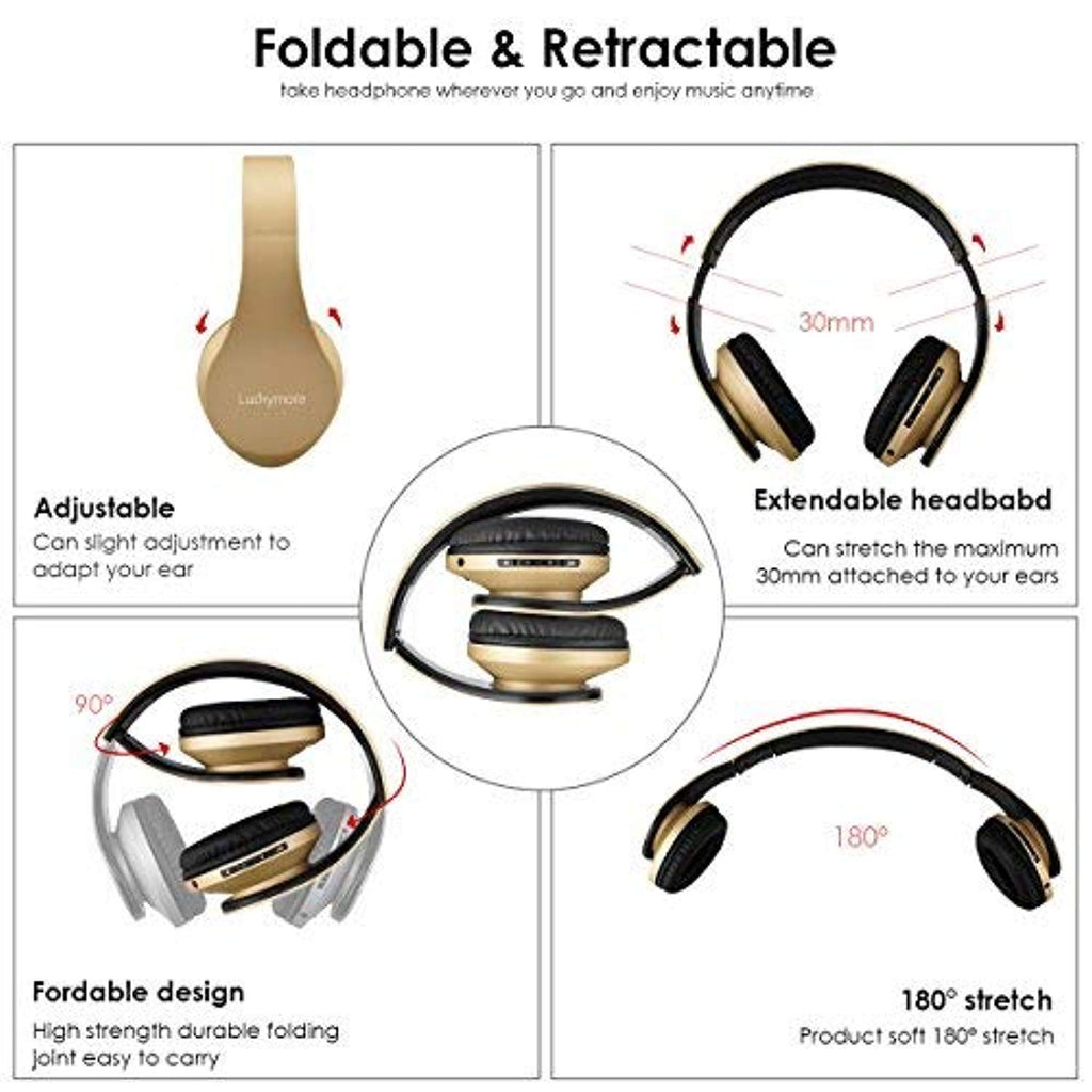 Wireless Bluetooth Headphone Over Ear, Headphones with Mic Noise Cancelling FM Radio Headsets, Sports Foldable USB Wired Earphone for kids Girls Women iphone (Gold)