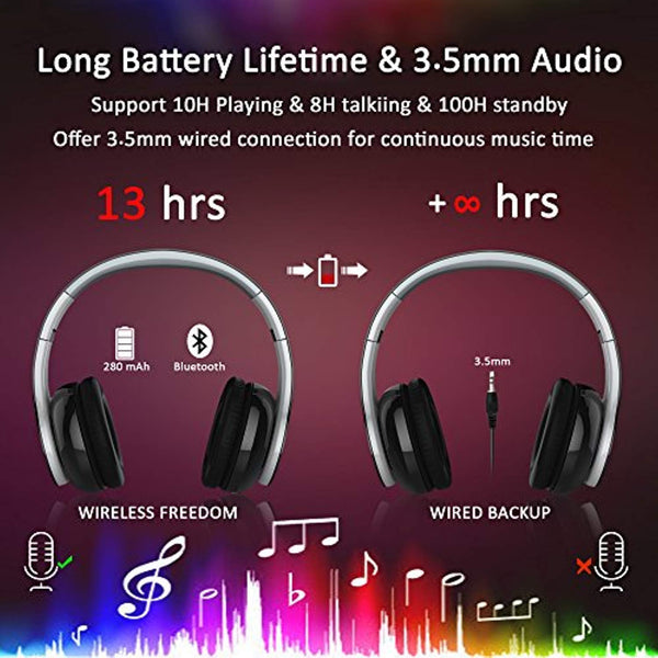 USTEK Bluetooth Headphones, Over Ear Wireless Headset, Built-in Mic and Wired Mode for Cellphones Tablets Smartphones Laptop Computer PC Mp3/4
