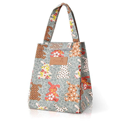 Cute Lunch Bag, Reusable Lunch Box, Cotton Bento Cooler Bag, Insulated Lunch Bag for Girls, Women, Men, Kids(Rabbit)
