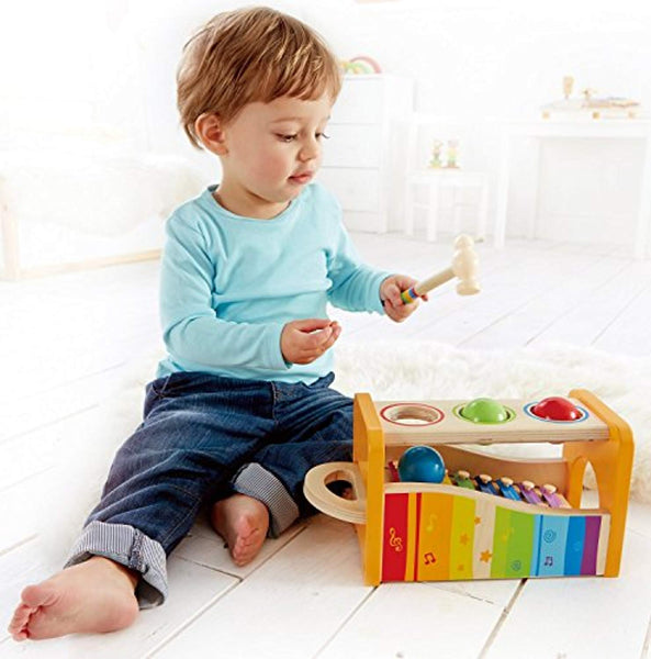 Pound & Tap Bench with Slide Out Xylophone - Award Winning Durable Wooden Musical Pounding Toy for Toddlers, Multifunctional and Bright Colours