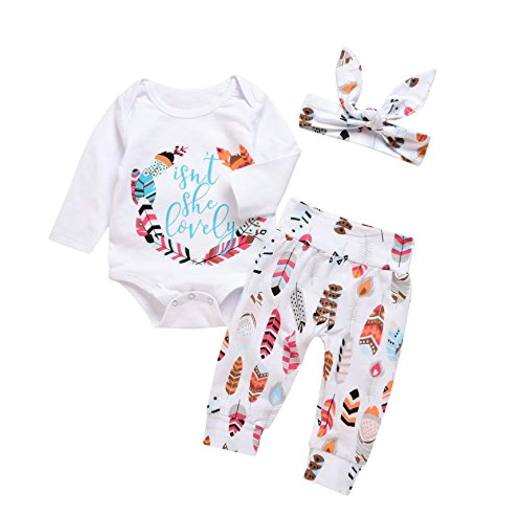 Baby Boy Girls Print Long Sleeve Letters Romper+Leaves Pant+Bunny Headband Winter Outfit
