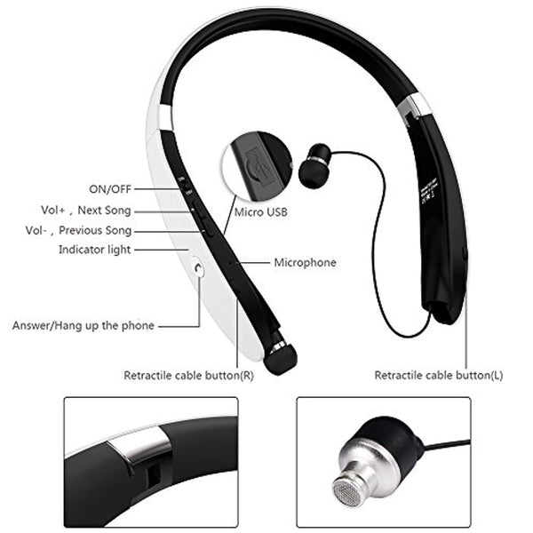 Bluetooth Headset, Bluetooth Headphones SX991-LBell Wireless Neckband Design with Foldable Retractable Headset for iPhone X/ 8/7 Plus Samsung Galaxy S8 Note 8 and Other Bluetooth Enabled Devices