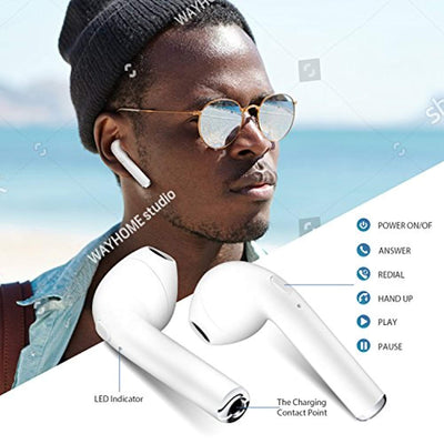 Bluetooth Headphones, bonsalay Wireless Headphones Mini Wireless Sports Earphones Stereo Earbuds Sweatproof Headsets-white05