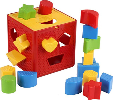 Baby Blocks Shape Sorter Toy - Childrens Blocks Includes 18 Shapes