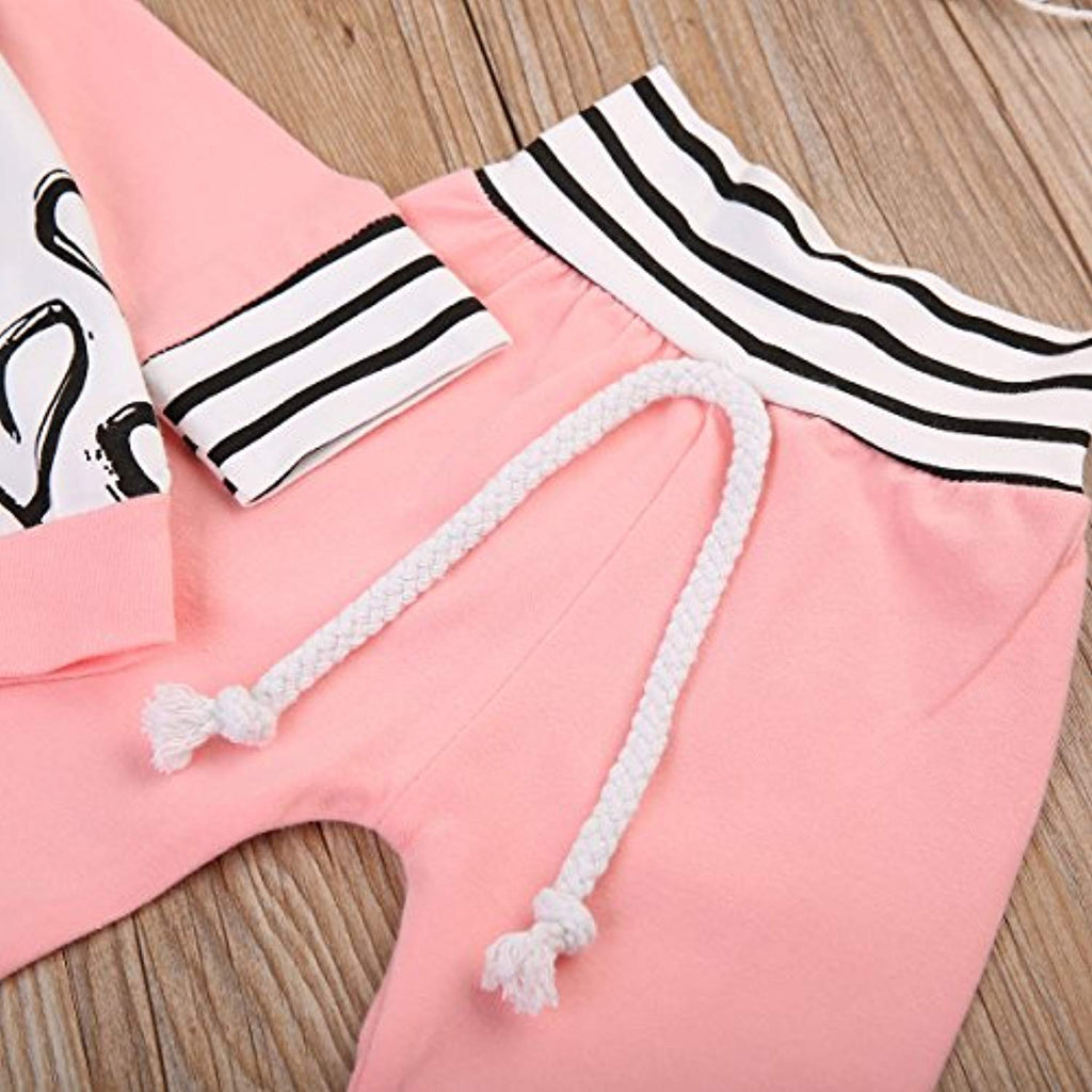 Newborn Baby Girls Hand-painting Heart Tops Hoodies Pants 2Pcs Outfits Clothes Set