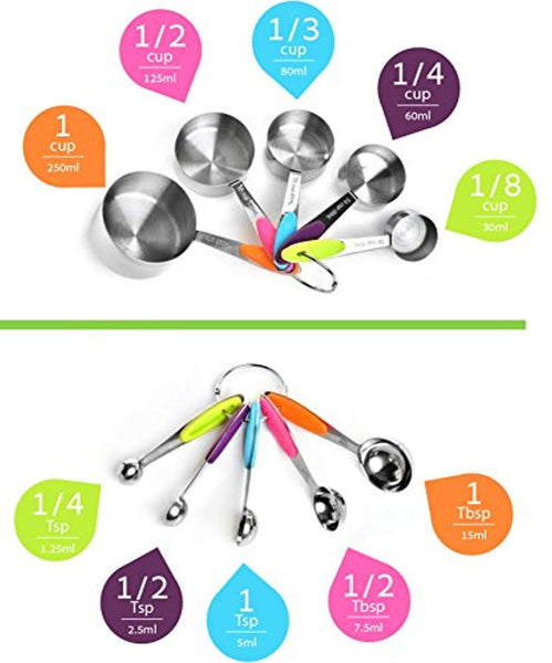 Stainless Steel Measuring Cups and Spoons FREE Collapsible Funnel by TPQ Life