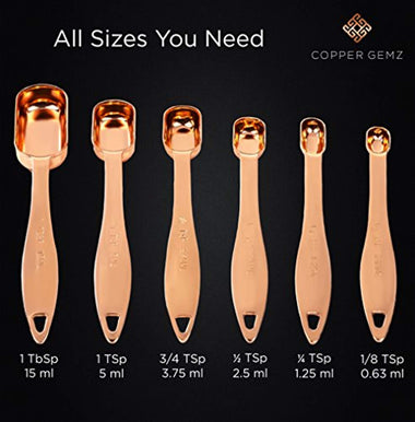 Copper Measuring Spoons, Set of 6 - Extra Sturdy & Heavy Duty.