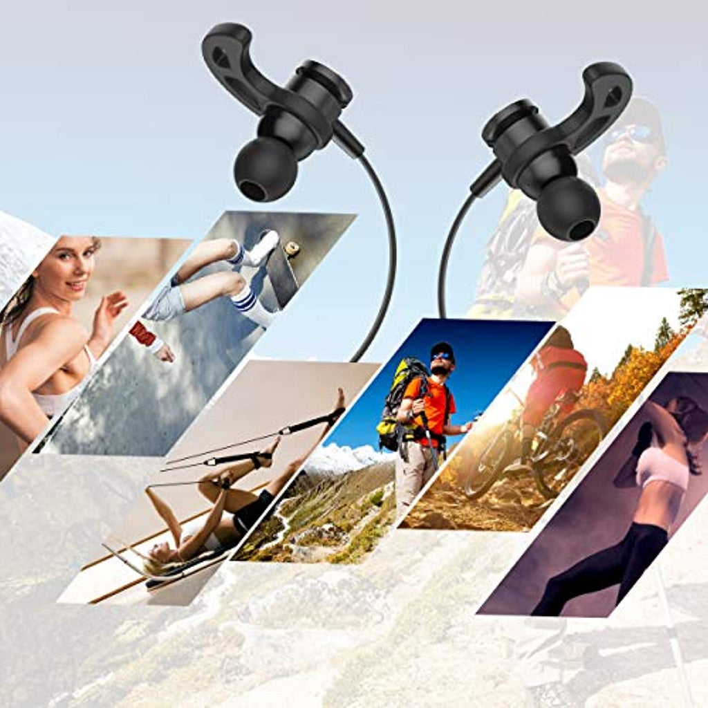 Bluetooth Headphones, Arrela Magnetic Wireless Earbuds Bluetooth 4.1 Earphones with Microphone IPX4 Sweatproof Waterproof in-Ear Headset for Running Workout Black