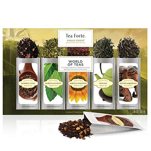 Tea Forté SINGLE STEEPS World Of Teas Loose Leaf Tea Sampler, Assorted Variety Tea Box, 15 Single Serve Pouches - Green Tea, Herbal Tea, Black Tea, Chai Tea