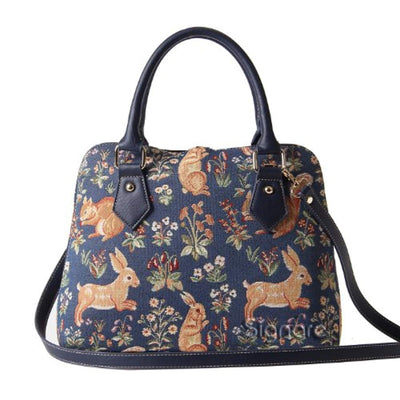 Tapestry Women Top Handle Handbag with Detachable Strap