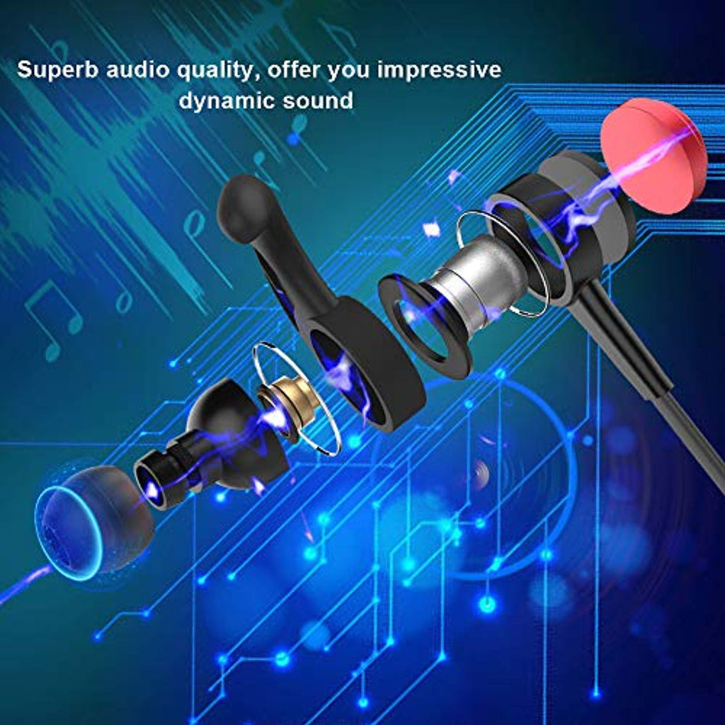 Bluetooth Headphones, Pwow Magnetic Wireless in-Ear Earbuds Bluetooth 4.1 with Microphone Sport Stereo Earphones CVC 6.0 Noise Cancelling IPX4 Sweatproof Waterproof Headset for Gym Workout
