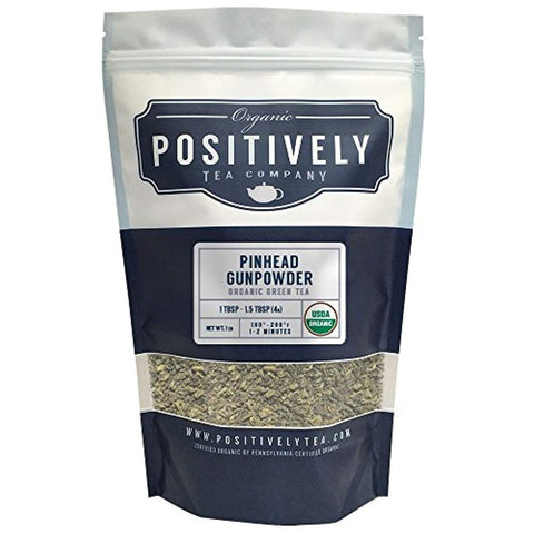 Organic Pinhead Gunpowder Green Tea, Loose Leaf Green Tea, Bulk 1 Pound Bag, Positively Tea LLC. (1 Lb.)