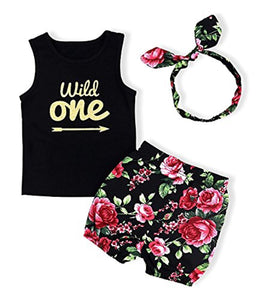 Baby Girl Clothes Wild One Vest and Floral Pants Outfits with Bowknot Headband