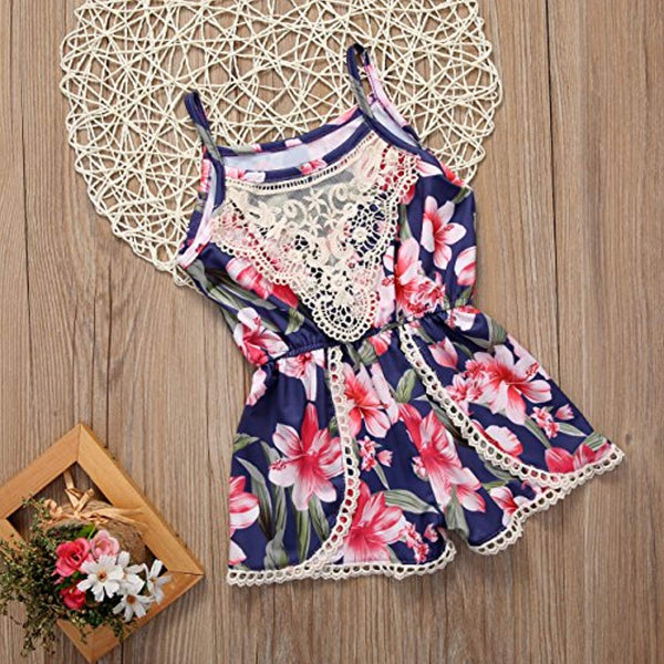 Newborn Baby Girls Floral Ruffle Lace Sling Short Romper Sleeveless Bodysuit