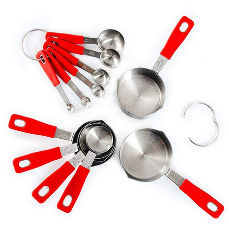 Stainless Steel Measuring Cups and Spoons Set with Long Silicone Handle, Set of 12 - Red