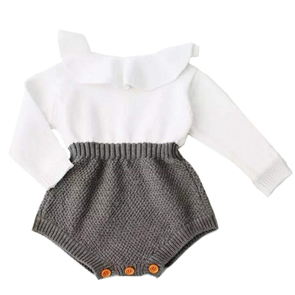 Baby Girls Romper Knitted Ruffle Long Sleeve Jumpsuit Baby Kids Girl Romper Autumn Winter Casual Clothing