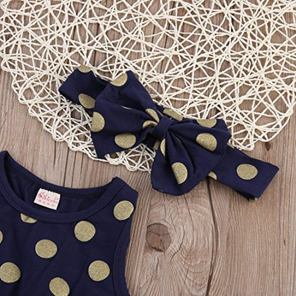 Baby Girl Clothes Gold Dots Bodysuit Romper Jumpsuit One-Pieces Outfits Set