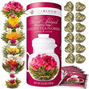 Teabloom Heart Shaped Flowering Tea – 12 Assorted Blooming Tea Flowers Gift Set – Green Tea + Jasmine, Pomegranate, Strawberry, Rose, Litchi & Peach – Unique Romantic Valentine Gift