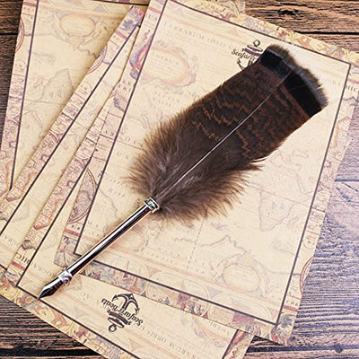 Antique Dip Feather Pen Set Writing Quill Ink Dip Pen Harry Potter Calligraphy Pen Set, Included Ink