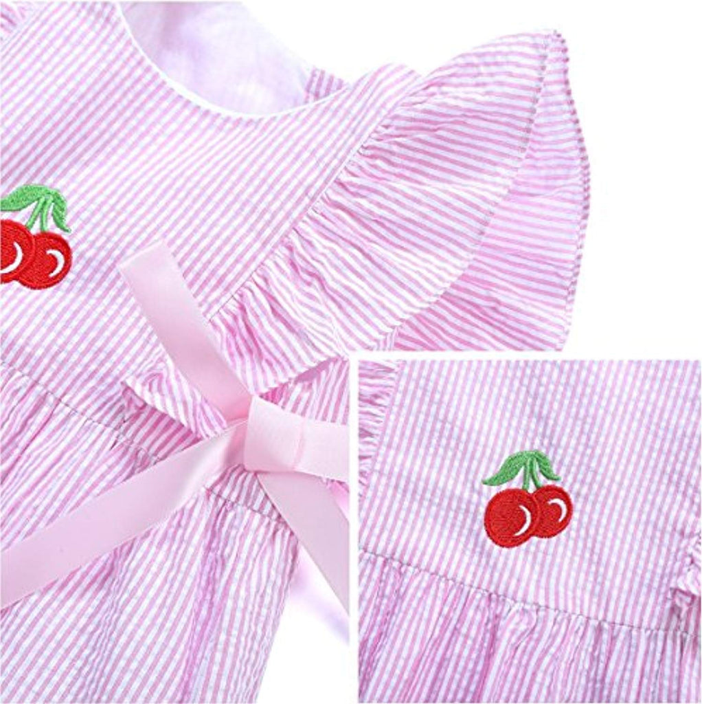 Baby Girl Dress Clothes - Embroidered Cute Cherries Boutique