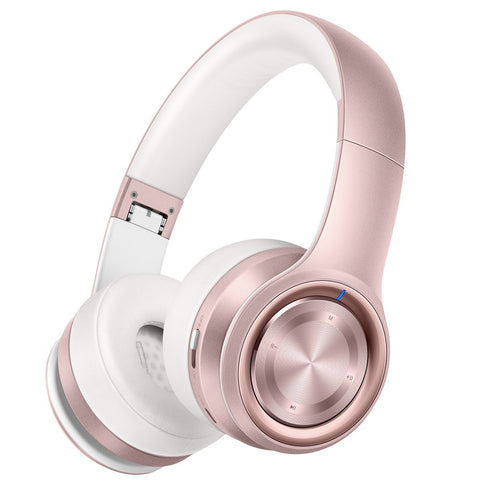 Picun P26 Bluetooth Headphones Over Ear Hi-Fi Stereo Wireless Headphones with Deep Bass Foldable Wired/Wireless and TF Mode for Phone/TV/PC, Bluetooth 4.1 Wireless Earphones with Mic (Rose Gold)