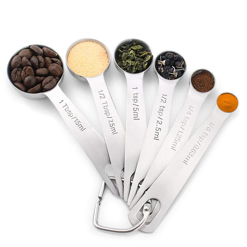 Stainless Steel Measuring Spoons, Set of 6
