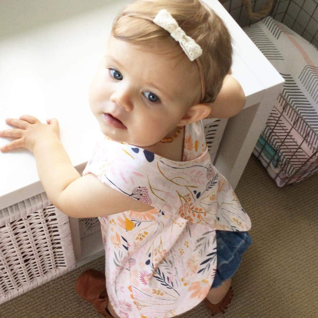 Infant Baby Girl Outfit Wildflowers Cross Vest Ruffled Leaf Short Pants with Headband Clothing