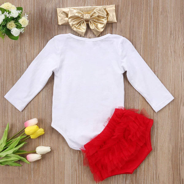 Cute Baby Girl Daddy's Girl Print Bow Romper+Multi-Tulle Ruffle Bowknot Shorts Outfit