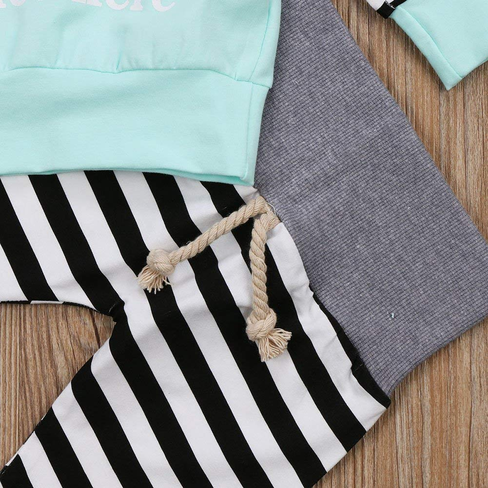 Unisex Baby Clothes Outfit Birthday Outwear Hood Tops Casual Stripes Pants Leggings Set