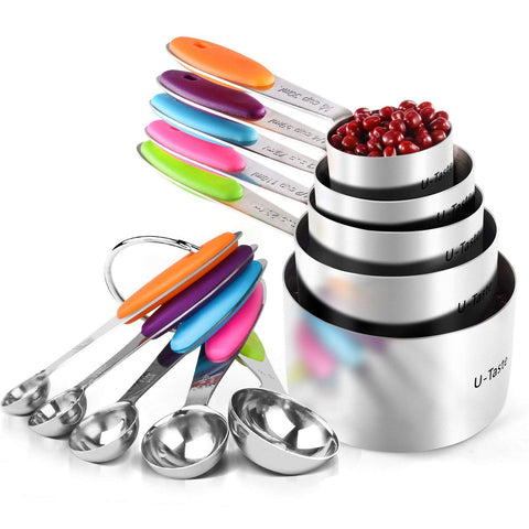 10 Piece Measuring Cups and Spoons Set in 18/8 Stainless Steel