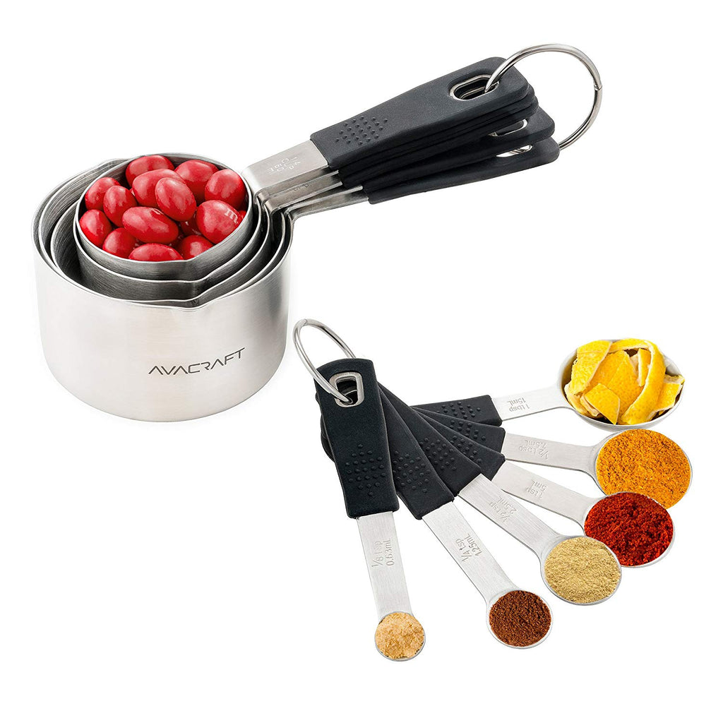 Stainless Steel Measuring Cups and Spoons Set with Ergonomic Soft Grip Silicone Handle and Easy Pour Spout