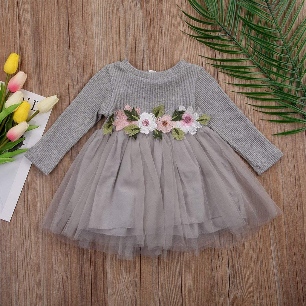 Toddler Kids Baby Girls Knitted Tulle Cap Tutu Dresses Jersey Dress Outfit
