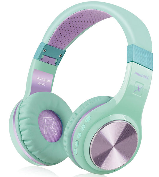 Bluetooth Headphones, XBT-80 Foldable Stereo Wireless Bluetooth Headphones Over Ear with Microphone and Volume Control, Wireless and Wired Headset for PC/ Cell Phones/ TV/ Ipad (Purple Green)