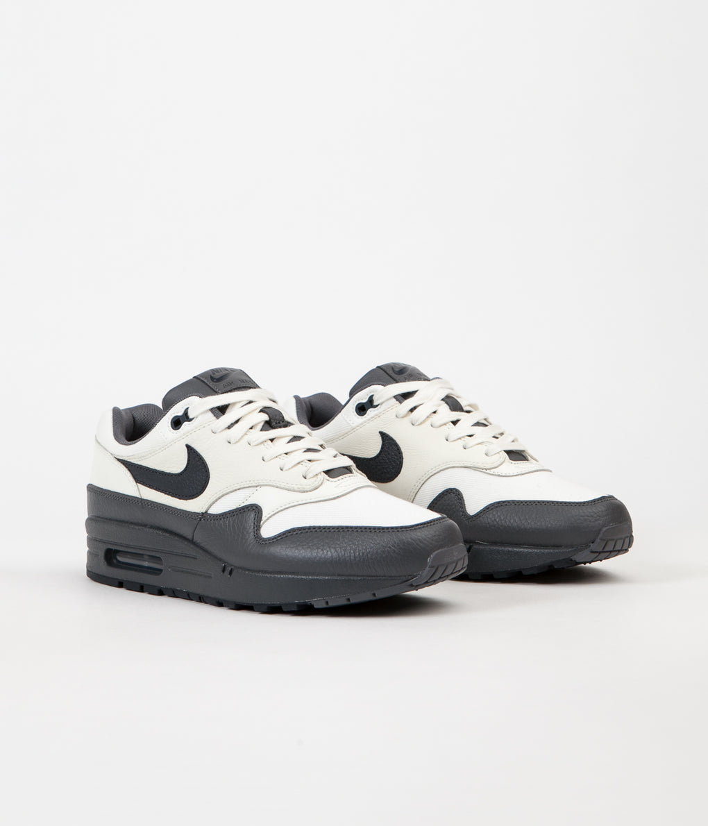 Nike Air Max 1 Premium Shoes - Sail / Dark Obsidian - Dark Grey