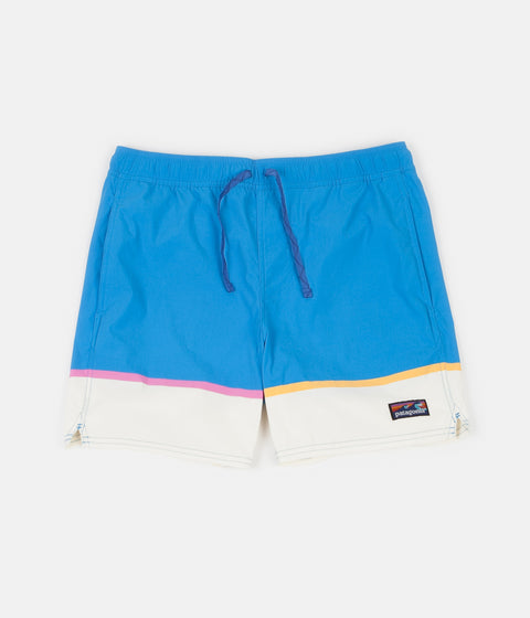 "Patagonia Stretch Wavefarer 16"" Volley Shorts - Bottom Leg Stripe: Joya Blue"