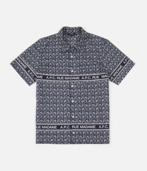 A.P.C. Logo Short Sleeve Shirt - Dark Navy